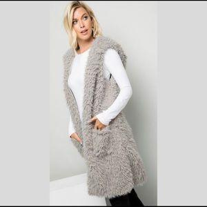 Gray Faux Fur Hooded Vest